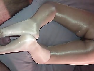 Shiny Pantyhose Footjob and Fuck