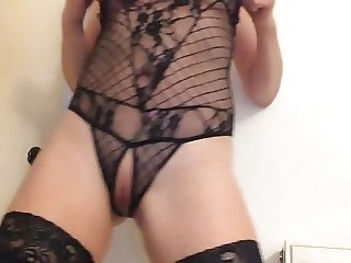 Standing masturbation in sexy underwear