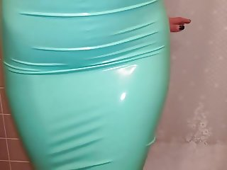 Latex TRY ON - Teal Pencil Skirt