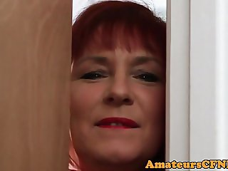 Bigtitted mature CFNM amateur pleasuring cock
