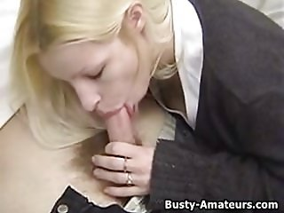 Busty blonde amateur Candace sucking her boyfriend.wmv