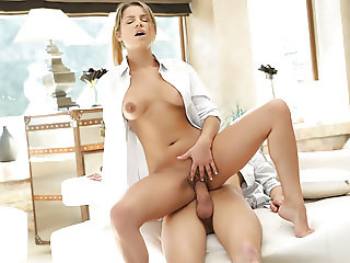 Sexy euro girl Angel Rivas on a long dick