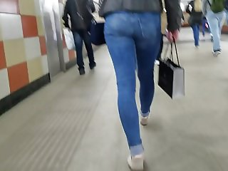 Nice small tight ass in blue jeans