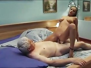 Old man calls a sexy young escort girl with nice boobs & cre