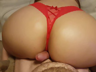 SEXY BOOTY POV ASSJOB, OILED BIG ASS IN RED THONG GRINDS AND SHAKES ON COCK