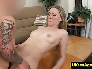 UK blonde amateur cocksucks and rides midget