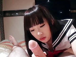 Beautiful japanese teen sucking cock POV