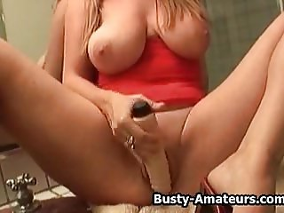 Busty amateur Violet playing her pussy with dildo