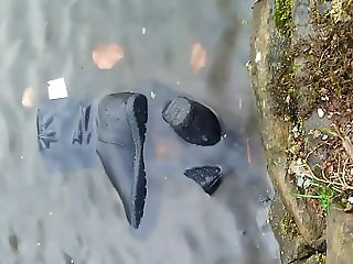 Suede boots in water