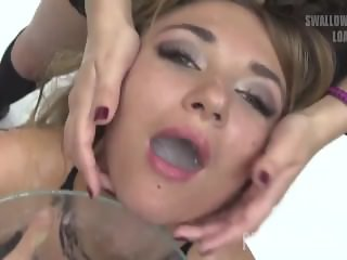 Premium Bukkake - Katy swallows 75 huge mouthful cumshots