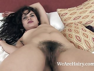Sierra strips naked and enjoys her hairy body