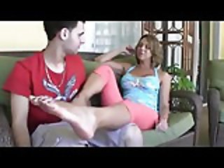 Great mom son footjob