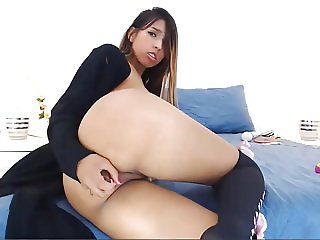 Teen Latina Babe Fucking Her Ass Hole with Dildo