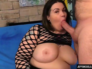 Big Tit Fat Girl Plays with Her Pussy and Fucks