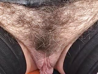 Mature exhibition hairy pussy in a park