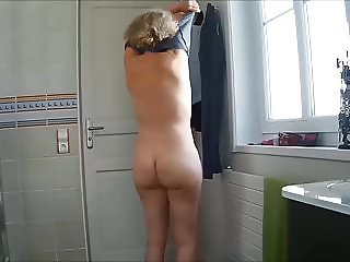 My wife naked this morning - hidden cam