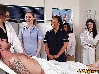 Dominant nurses sucking naked patients dick