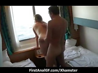 Blonde lady anal fucking on boat cabin