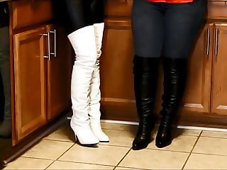 lady's in tight leather and Boots