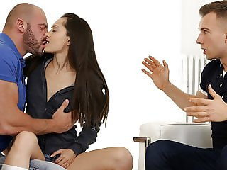Young guy fucks her tiny GF and his Dad too!