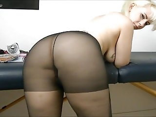 Girl with a big arse farts in black pantyhose