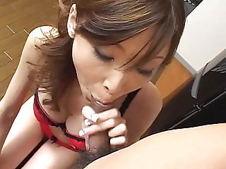 Japanese blowjob in red underwear