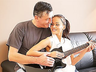 OLD4K. Mature guitarist makes love with skinny brunette on..