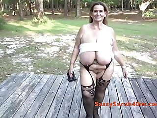 Huge danglers mature naked outdoors