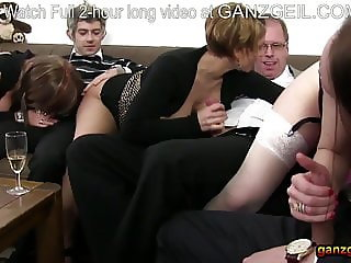 Dinner party turns into mature German orgy