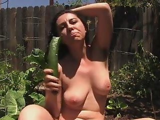 Hairy girl in garden
