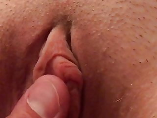 Playing with my wife pretty pussy and big juicy clit