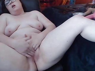 Perverted BBW Ember with tiny tits and round booty gets cum