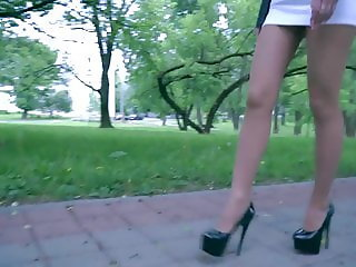 Extremely HOT TEEN outdoor in short skirt, nylon, high heels