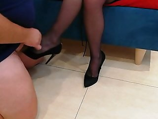 Cum on Black shoes black pantyhose