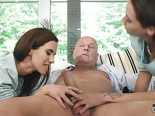 Twins school girls fucked their older teacher and swallow