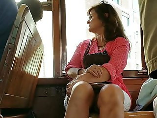 Creep Shots mature peaking white panties on street car