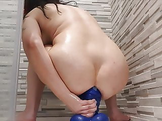 sexy gaping ass dildo play