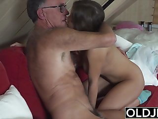 Teen girl with pierced tongue seduces grandpa and fucks him