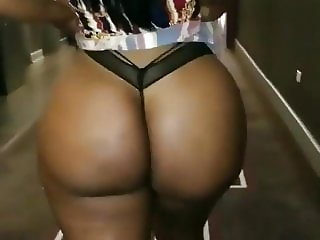 Sexy Walk in Black Thong