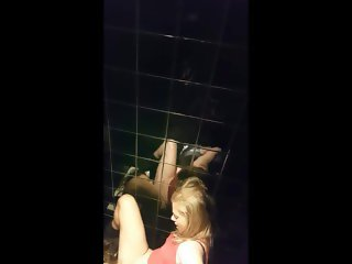 Two girls on pub´s bathroom