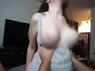 my neighbor with big natural tits fucks me with her pussy