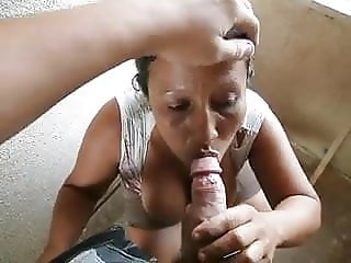 Shy mexican maid tasting my dick