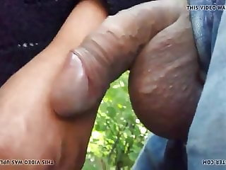 Dick flash in front granny and touching dick outdoor!
