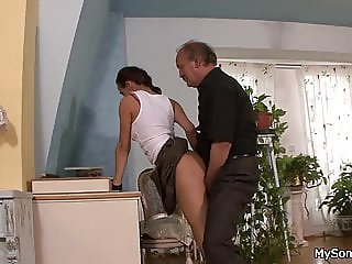 Moustached old man forced son's gf to sloppy fuck