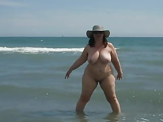 Chubby Mature On The Beach