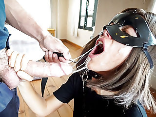 Sloppy Rough Deepthroat BJ (Leash, Piss+Cum Drinking)