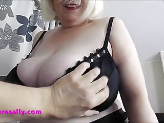 English Grandma has her big tits played with