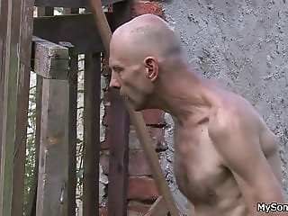 Skinny man fucking his son's blonde gf outdoors