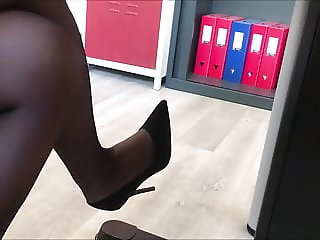 0% secretary in black pantyhose high heels and dress II