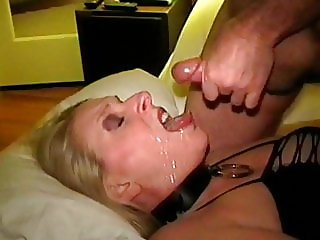Beth - cum drinking wife and bukkake web whore swallows more